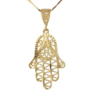 14k Yellow Gold 18-inch Diamond-cut Hamsa Hand Pendant Necklace