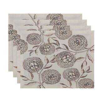 18x14-inch Antique Flowers Floral Print Placemat (Set of 4)