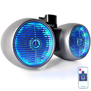 Pyle PLMRWB852LES Silver With Multicolored LED Lights 8-inch 600-watt Wakeboard Water-resistant Dual Marine Tower Speakers