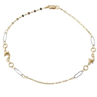 14k Two-tone Gold 9.5-inch Italian Dolphin Anklet