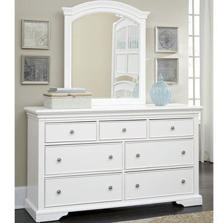 NE Kids Walnut Street White Wood 7-drawer Dresser with Mirror