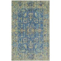 Safavieh Valencia Blue/ Multi Distressed Silky Polyester Rug - 2' X 3'