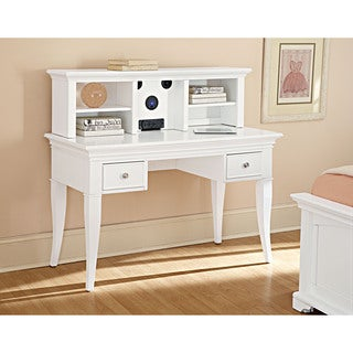 NE Kids Walnut Street White Desk with Hutch and Chair