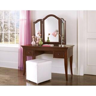 NE Kids Walnut Street Chestnut Wood Desk with Vanity Storage Mirror