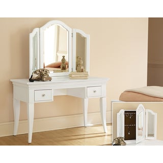 NE Kids Walnut Street White Wood Desk With Vanity Storage Mirror