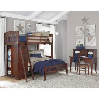 NE Kids Walnut Street Chestnut Wood Locker Loft With Full Lower Bed