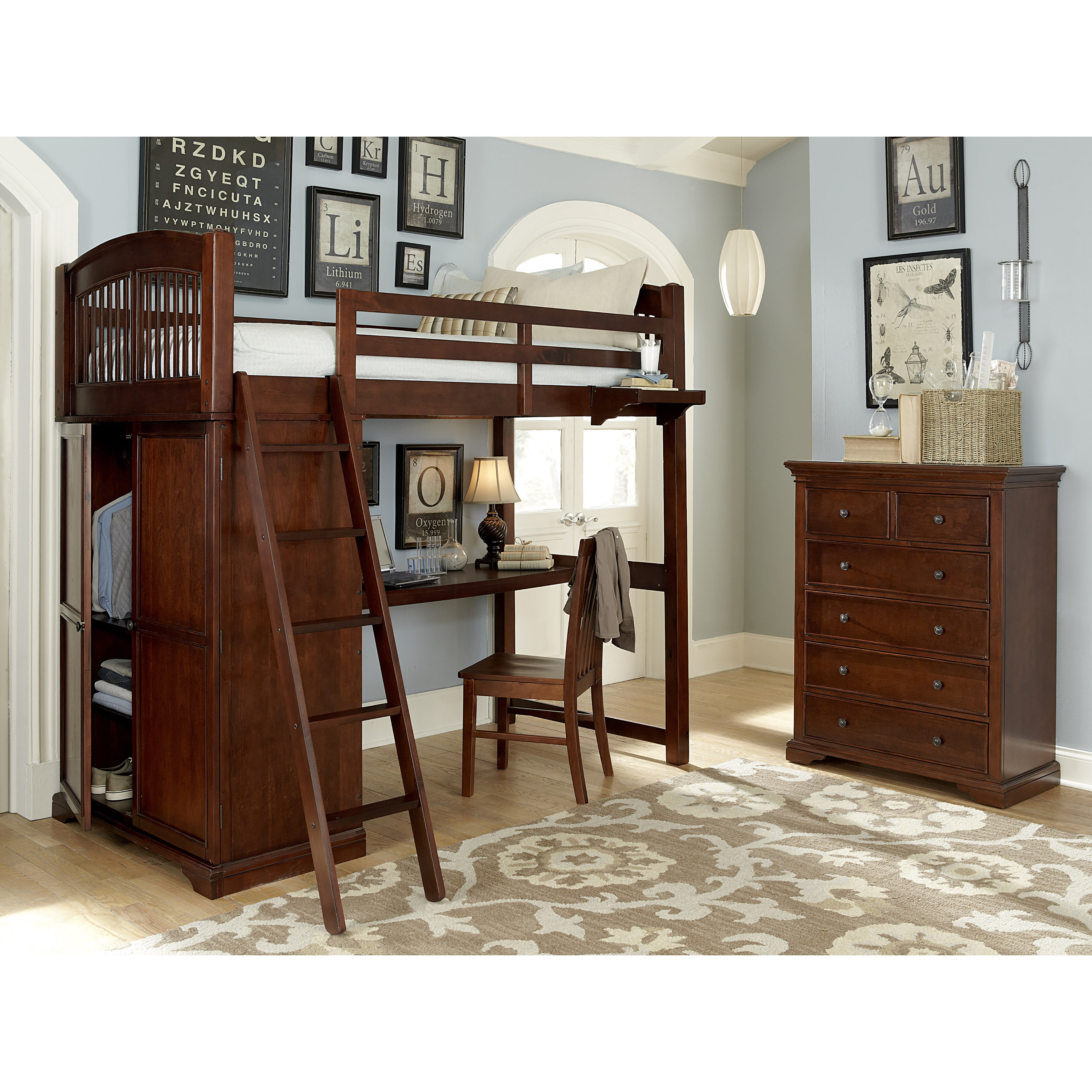 NE Kids Walnut Street Chestnut Wood Locker Loft Desk (Loc...
