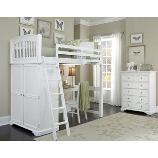 WALNUT STREET White Wood Locker Loft Bed, Storage and Desk