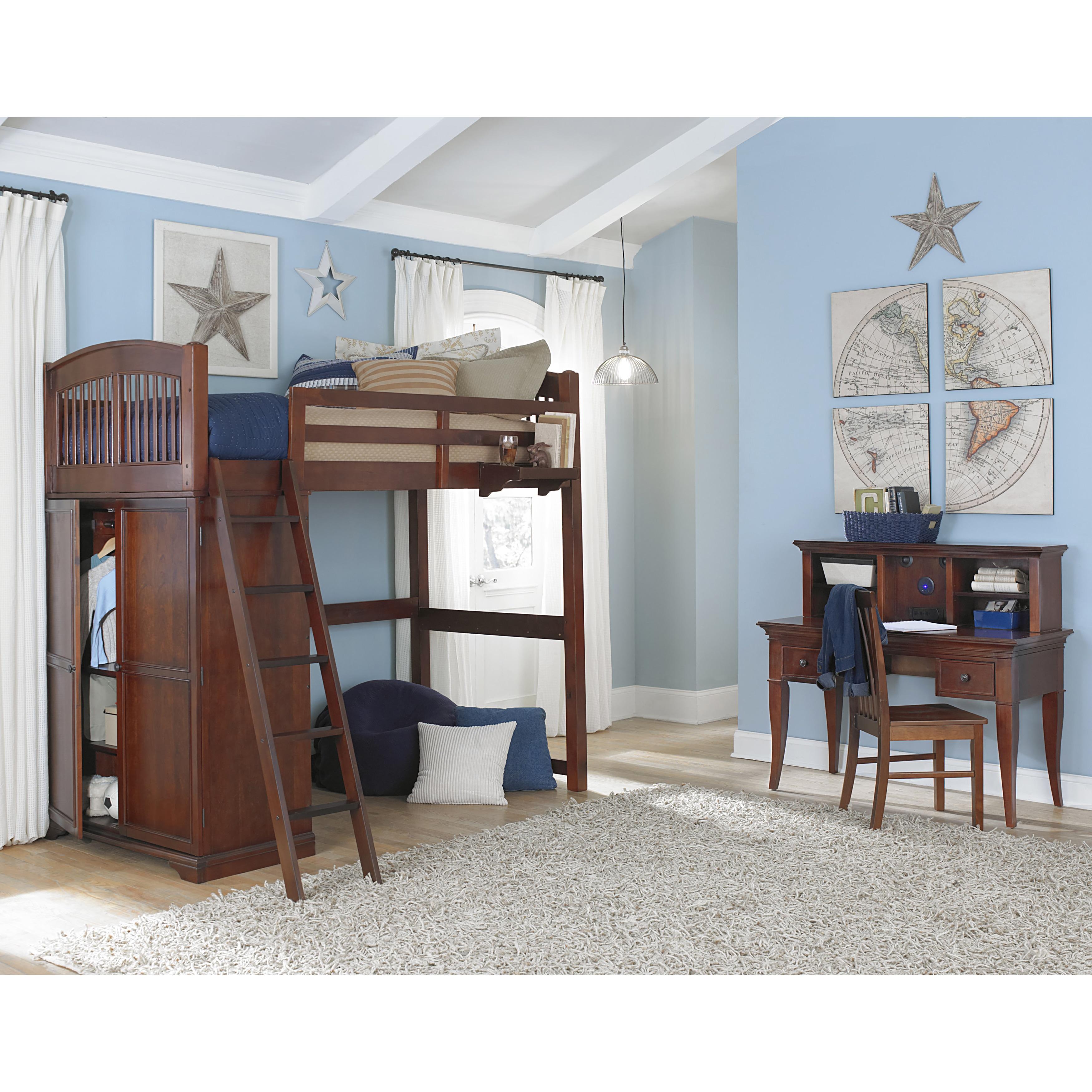 NE Kids Walnut Street Chestnut Wood Locker Loft Bed (Lock...