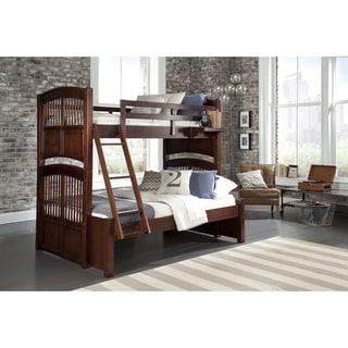 NE Kids Walnut Street Hayden Chestnut Wood Twin Over Twin Full Bunk Bed with Storage
