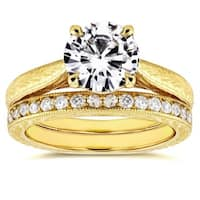 Annello by Kobelli 14k Yellow Gold 1 1/2ct Round Moissanite (FG) and 1/3ct TDW Diamond (GH) Antique Cathedral Bridal Set