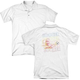 Popeye/Soccer (Back Print) Mens Regular Fit Polo in White