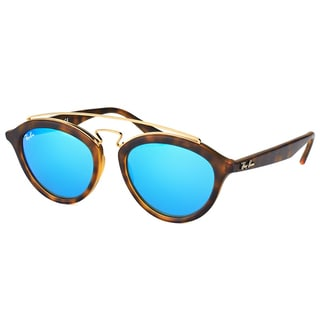Ray-Ban Women's RB 4257 609255 Gatsby II Matte Havana Plastic Fashion Sunglasses with Blue Mirror Lens
