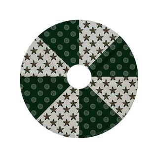44-inch Round Pinecone Star Geometric Print Tree Skirt