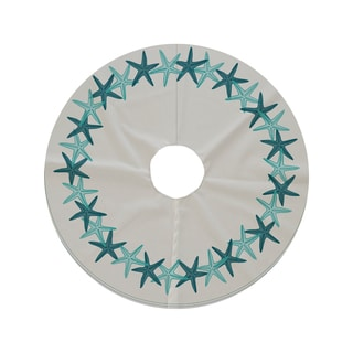 44-inch Round Starfish Wreath Geometric Print Tree Skirt