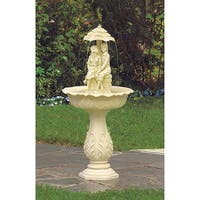 Romantic Fiberglass Water Fountain Off-White