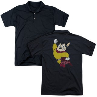 Mighty Mouse/Classic Hero (Back Print) Mens Regular Fit Polo in Black