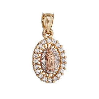 14k Gold Tri-Color Virgin Mary Oval Charm Necklace