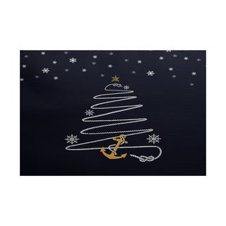 5 x 7-Feet Holiday Anchor Geometric Print Indoor/Outdoor Rug