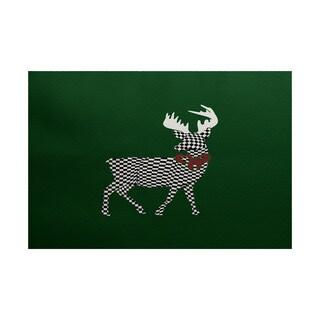 5 x 7-Feet Merry Deer Animal Print Indoor/Outdoor Rug