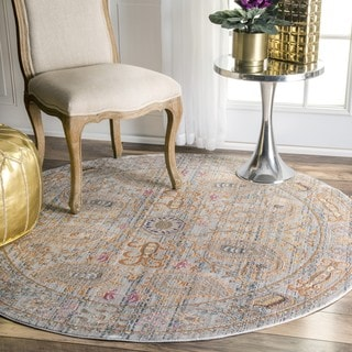 nuLOOM Traditional Vintage Fancy Floral Grey/Multi Round Rug (5'3 Round)