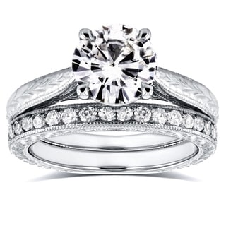 Annello by Kobelli 14k White Gold 1 1/2ct Round Moissanite and 1/3ct TDW Diamond Antique Cathedral B