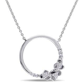 Miadora 14k White Gold 1/6ct TDW Diamond Ring Necklace
