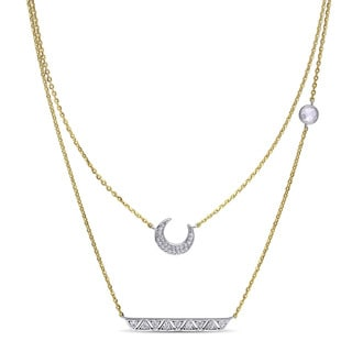 Miadora Yellow Plated Silver Cubic Zirconia Crescent Moon Necklace