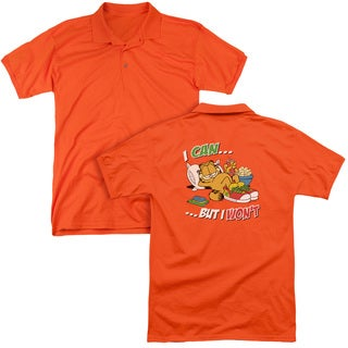 Garfield/I Can... (Back Print) Mens Regular Fit Polo in Orange
