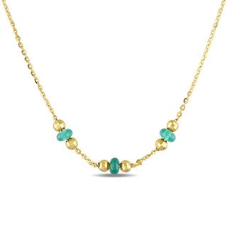 Miadora Yellow Plated Silver Green Onyx Necklace