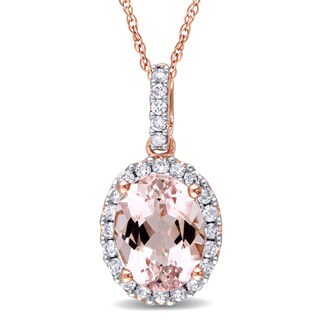 Miadora 10k Rose Gold Morganite and 1/4ct TDW Diamond Halo Necklace