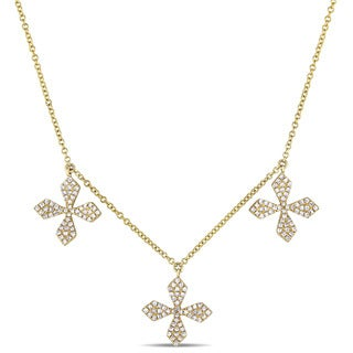 Link to Miadora 14k Yellow Gold 4/5ct TDW Diamond Multi Cross Necklace Similar Items in Necklaces