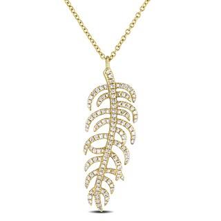 Miadora 14k Yellow Gold 3/8ct TDW Diamond Leaf Necklace