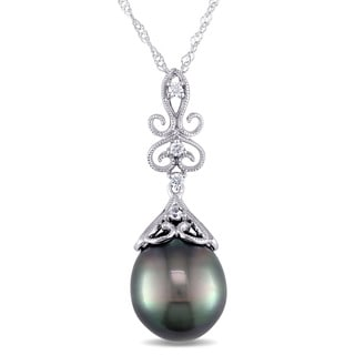 Miadora 14k White Gold Tahitian Pearl and Diamond Accent Necklace