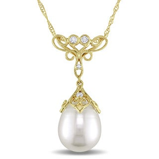 Miadora 14k Yellow Gold Freshwater Pearl and Diamond Accent Necklace