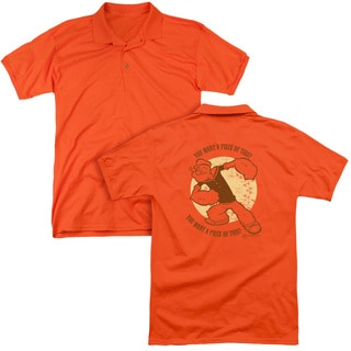 Popeye/You Want A Piece Of This (Back Print) Mens Regular Fit Polo in Orange