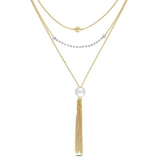 Miadora Yellow Plated Silver Freshwater White Pearl Drop Tassel Necklace