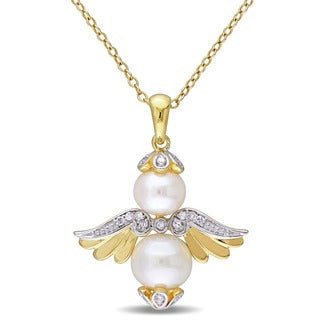 Miadora Yellow Plated Silver Freshwater White Pearl and 1/10ct TDW Diamond Pearl Angel Necklace (H-I, I2)