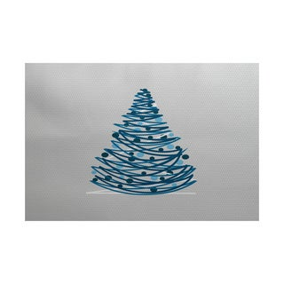 5 x 7-Feet Oh Christmas Tree Geometric Print Indoor/Outdoor Rug