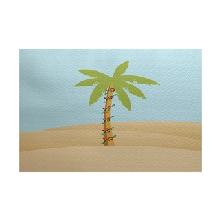 5 x 7-Feet Palm Tree with Christmas Lights Geometric Print Indoor/Outdoor Rug