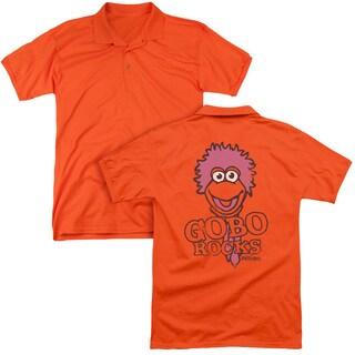 Fraggle Rock/Gobo Rocks (Back Print) Mens Regular Fit Polo in Orange