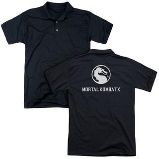 Mortal Kombat X/Dragon Logo (Back Print) Mens Regular Fit Polo in Black
