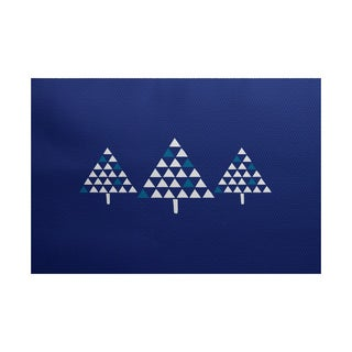 5 x 7-Feet Trio of Trees Geometric Print Indoor/Outdoor Rug