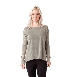 Black/Grey Cotton Boat-neck Long-sleeved T-shirt