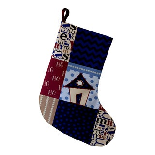 9 x 16-inch Merry Coastal Christmas Geometric Print Stocking