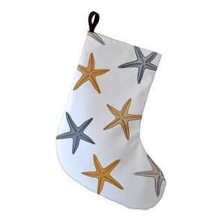 9 x 16-inch Holiday Starfish Geometric Print Stocking