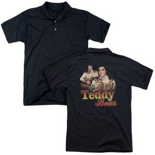 Elvis/Teddy Bear (Back Print) Mens Regular Fit Polo in Black