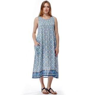La Cera Women's Sleeveless Long Smocked Bodice Dress