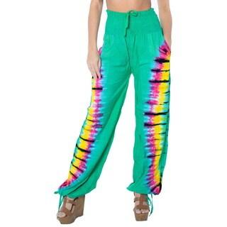 La Leela Rayon Tie Dye Green Women Lounge Sleepwear Lightweight Pajama Pant