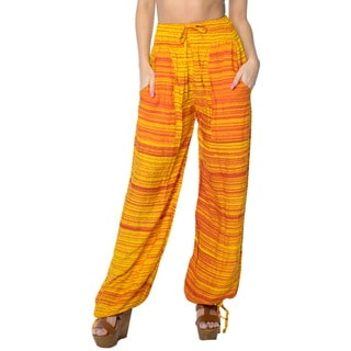 La Leela Soft Rayon Lightweight Women Plush Lounge Nightwear Pajama Pants Orange